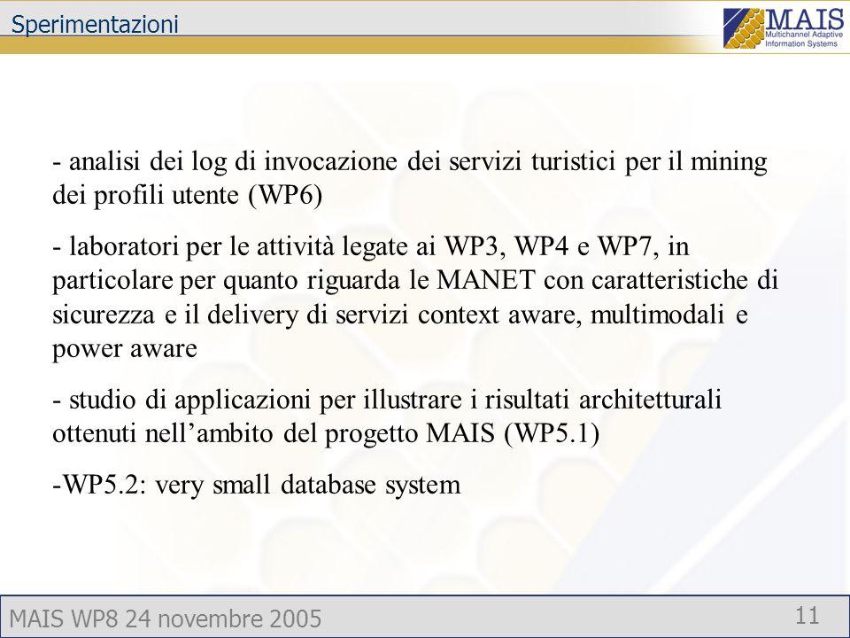 MAIS WP8 24 novembre 2005 11 Sperimentazioni - analisi dei log di invocazione dei servizi turistici per il mining dei profili utente (WP6) - laboratori per le attività legate ai WP3, WP4 e WP7, in particolare per quanto riguarda le MANET con caratteristiche di sicurezza e il delivery di servizi context aware, multimodali e power aware - studio di applicazioni per illustrare i risultati architetturali ottenuti nellambito del progetto MAIS (WP5.1) -WP5.2: very small database system