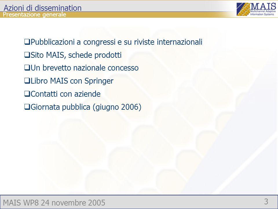 MAIS WP8 24 novembre 2005 3 Presentazione generale Azioni di dissemination Pubblicazioni a congressi e su riviste internazionali Sito MAIS, schede prodotti Un brevetto nazionale concesso Libro MAIS con Springer Contatti con aziende Giornata pubblica (giugno 2006)