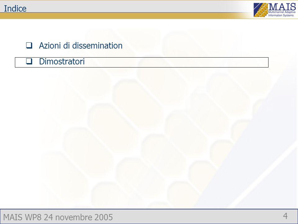 MAIS WP8 24 novembre 2005 4 Indice Azioni di dissemination Dimostratori