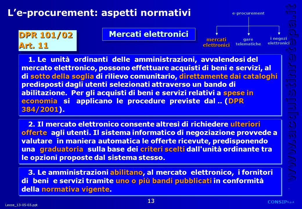 Lecce_13-05-03.ppt CONSIP S.p.A. www.acquistinretepa.it 13 DPR 101/02 Art. 11 DPR 101/02 Art. 11 Le-procurement: aspetti normativi sotto della sogliad