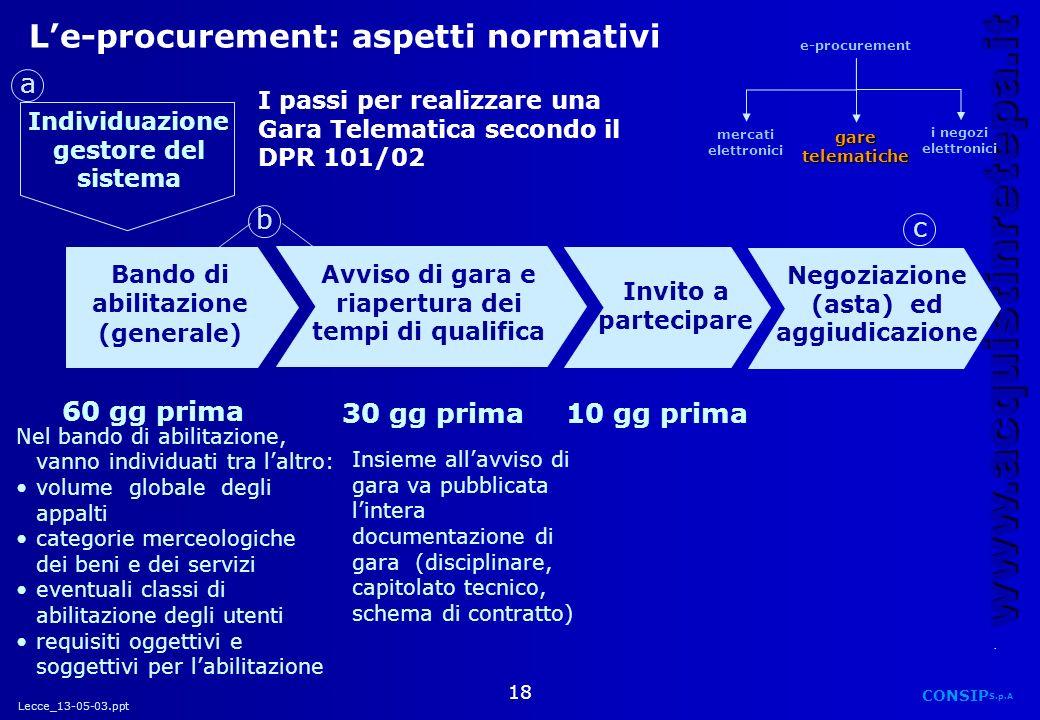 Lecce_13-05-03.ppt CONSIP S.p.A. www.acquistinretepa.it 18 Le-procurement: aspetti normativi Bando di abilitazione (generale) Invito a partecipare Neg