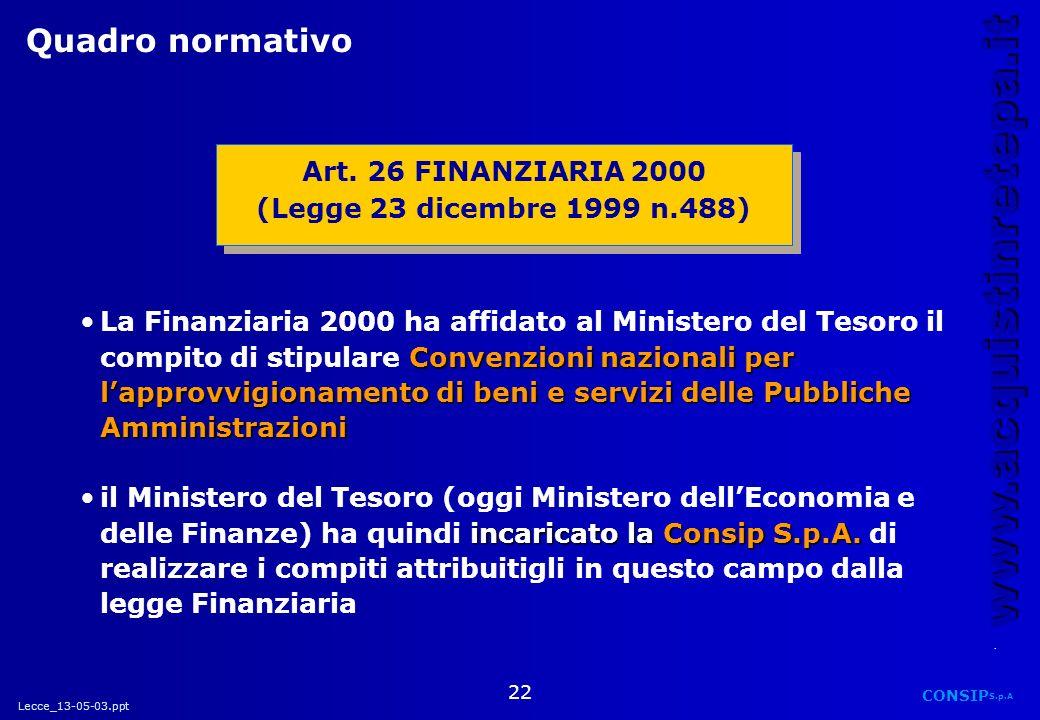 Lecce_13-05-03.ppt CONSIP S.p.A. www.acquistinretepa.it 22 Convenzioni nazionali per lapprovvigionamento di beni e servizi delle Pubbliche Amministraz