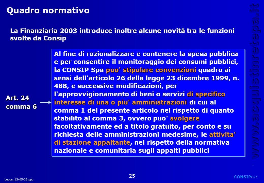 Lecce_13-05-03.ppt CONSIP S.p.A. www.acquistinretepa.it 25 La Finanziaria 2003 introduce inoltre alcune novità tra le funzioni svolte da Consip Art. 2