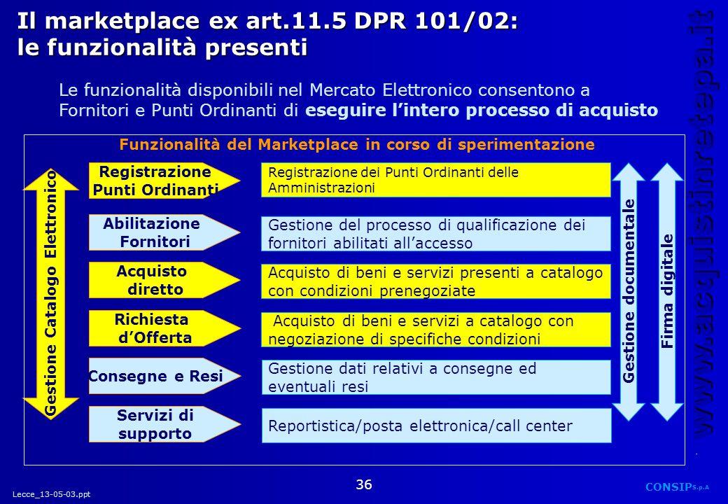 Lecce_13-05-03.ppt CONSIP S.p.A. www.acquistinretepa.it 36 Registrazione Punti Ordinanti Registrazione dei Punti Ordinanti delle Amministrazioni Il ma