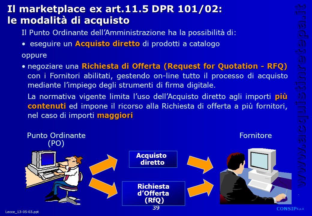 Lecce_13-05-03.ppt CONSIP S.p.A. www.acquistinretepa.it 39 Il marketplace ex art.11.5 DPR 101/02: le modalità di acquisto Acquisto diretto Richiesta d