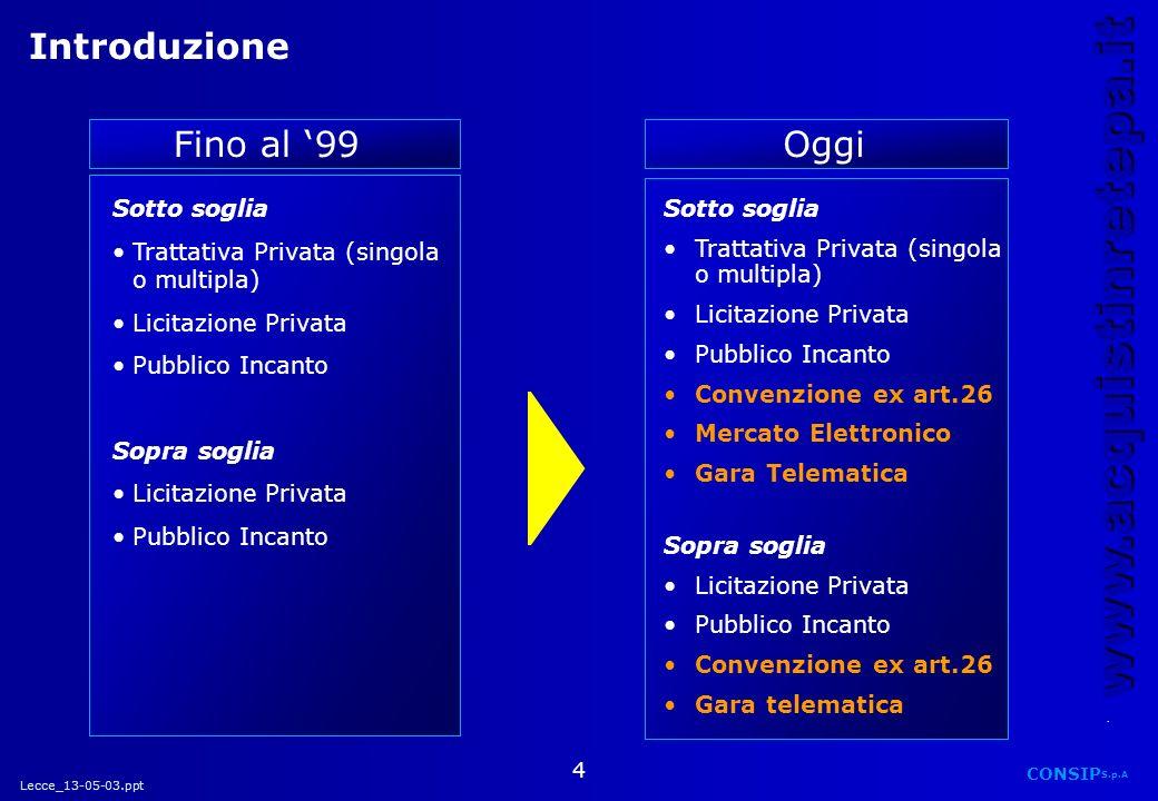 Lecce_13-05-03.ppt CONSIP S.p.A. www.acquistinretepa.it 4 Sotto soglia Trattativa Privata (singola o multipla) Licitazione Privata Pubblico Incanto So