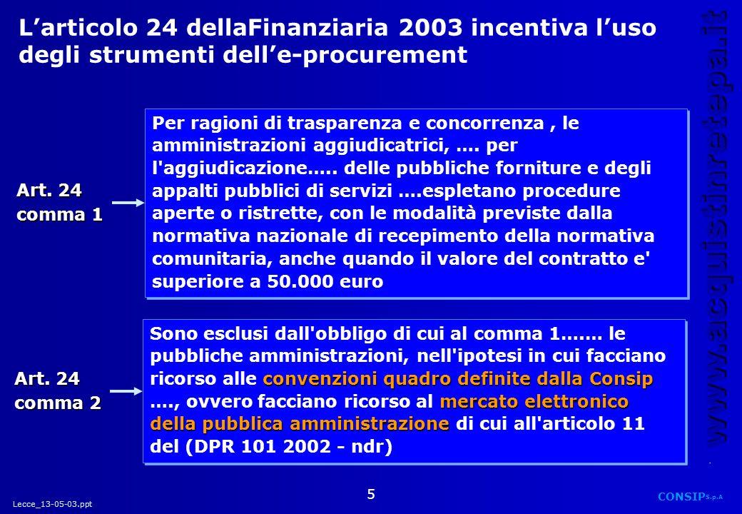 Lecce_13-05-03.ppt CONSIP S.p.A. www.acquistinretepa.it 5 Larticolo 24 dellaFinanziaria 2003 incentiva luso degli strumenti delle-procurement Art. 24