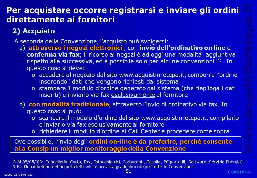Lecce_13-05-03.ppt CONSIP S.p.A. www.acquistinretepa.it 51 Per acquistare occorre registrarsi e inviare gli ordini direttamente ai fornitori A seconda