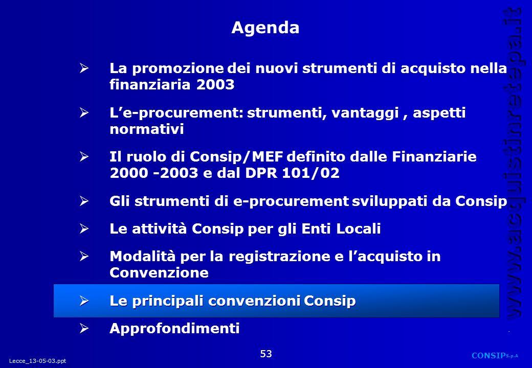 Lecce_13-05-03.ppt CONSIP S.p.A. www.acquistinretepa.it 53 La promozione dei nuovi strumenti di acquisto nella finanziaria 2003 Le-procurement: strume