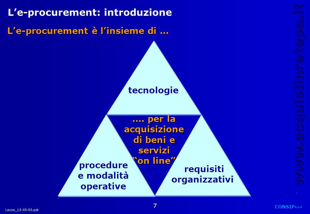 Lecce_13-05-03.ppt CONSIP S.p.A. www.acquistinretepa.it 7 Le-procurement: introduzione tecnologie procedure e modalità operative requisiti organizzati