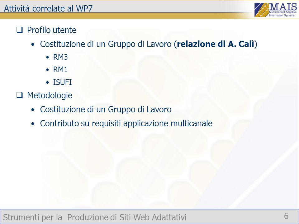 Strumenti per la Produzione di Siti Web Adattativi 6 Attività correlate al WP7 Profilo utente Costituzione di un Gruppo di Lavoro (relazione di A.