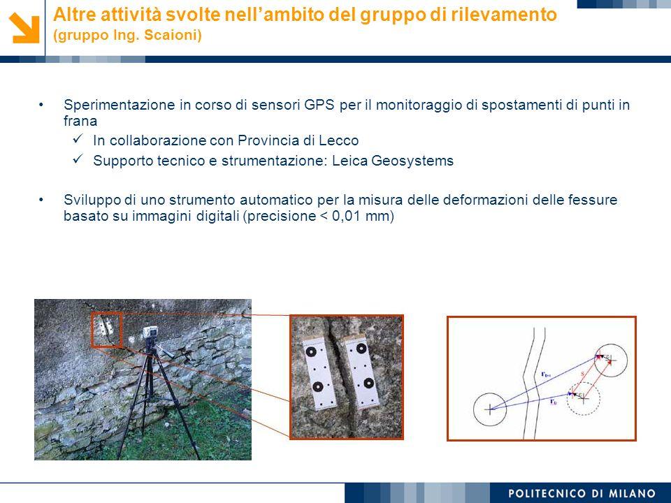 Monica Papini, Laura Longoni © Altre attività svolte nellambito del gruppo di rilevamento (gruppo Ing. Scaioni) Sperimentazione in corso di sensori GP