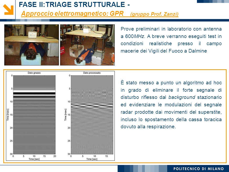 Monica Papini, Laura Longoni © Approccio elettromagnetico: GPR (gruppo Prof. Zanzi) Prove preliminari in laboratorio con antenna a 600MHz. A breve ver