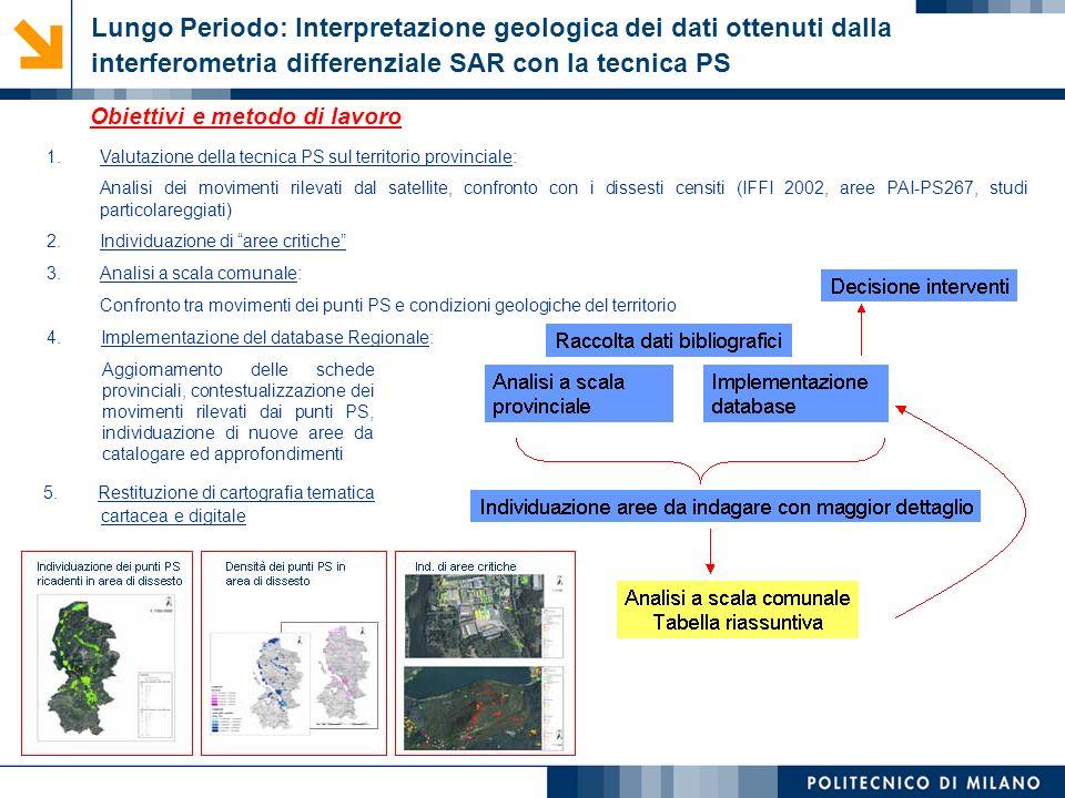 Monica Papini, Laura Longoni © Lungo Periodo: Interpretazione geologica dei dati ottenuti dalla interferometria differenziale SAR con la tecnica PS 1.