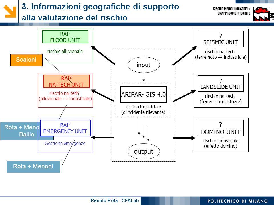 Renato Rota - CFALab R ISCHIO IN A REE I NDUSTRIALI: UN APPROCCIO I NTEGRATO Rota + Menoni + Ballio 3. Informazioni geografiche di supporto alla valut