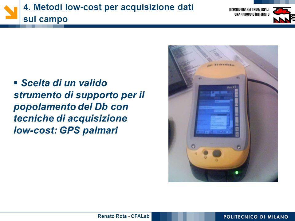 Renato Rota - CFALab R ISCHIO IN A REE I NDUSTRIALI: UN APPROCCIO I NTEGRATO 4. Metodi low-cost per acquisizione dati sul campo - 1 Scelta di un valid