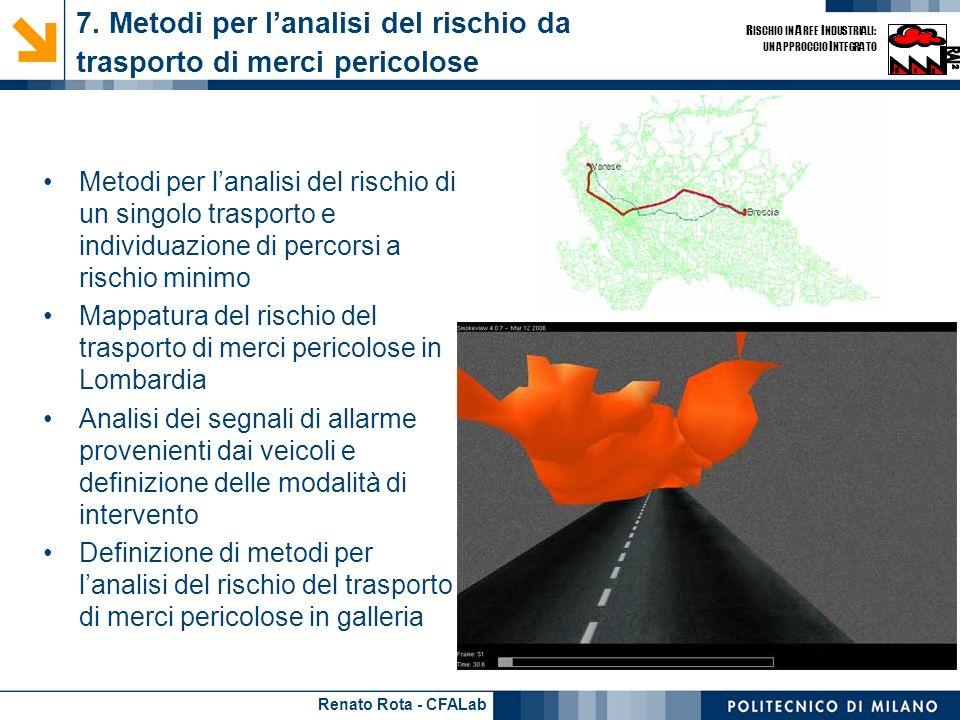 Renato Rota - CFALab R ISCHIO IN A REE I NDUSTRIALI: UN APPROCCIO I NTEGRATO 7. Metodi per lanalisi del rischio da trasporto di merci pericolose - 1 M
