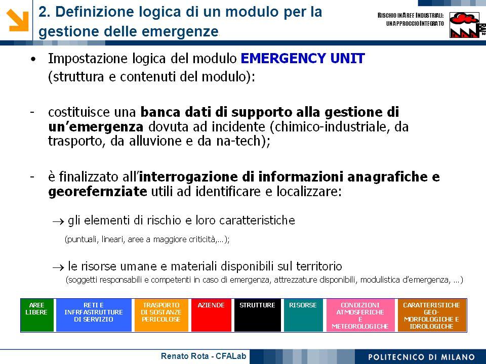 Renato Rota - CFALab R ISCHIO IN A REE I NDUSTRIALI: UN APPROCCIO I NTEGRATO 2. Definizione logica di un modulo per la gestione delle emergenze 1