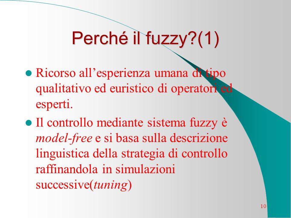 10 Perché il fuzzy?(1) Ricorso allesperienza umana di tipo qualitativo ed euristico di operatori ed esperti. Il controllo mediante sistema fuzzy è mod