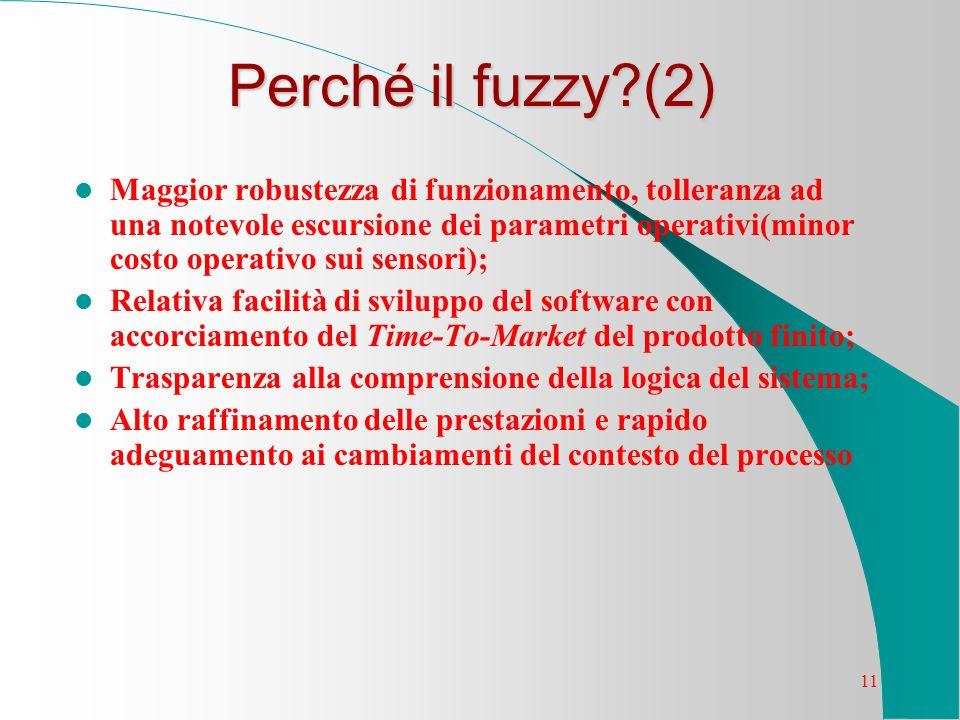 11 Perché il fuzzy?(2) Maggior robustezza di funzionamento, tolleranza ad una notevole escursione dei parametri operativi(minor costo operativo sui se
