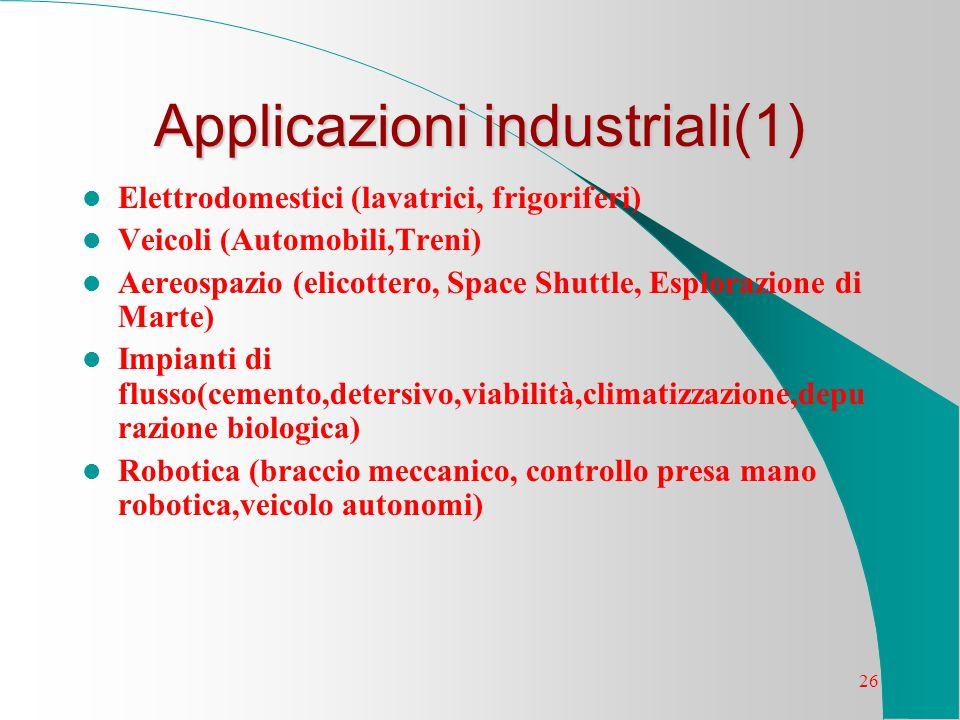 26 Applicazioni industriali(1) Elettrodomestici (lavatrici, frigoriferi) Veicoli (Automobili,Treni) Aereospazio (elicottero, Space Shuttle, Esplorazio