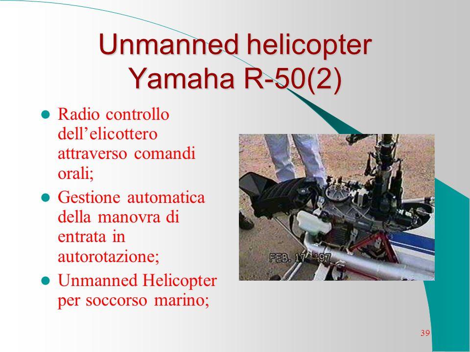 39 Unmanned helicopter Yamaha R-50(2) Radio controllo dellelicottero attraverso comandi orali; Gestione automatica della manovra di entrata in autorot