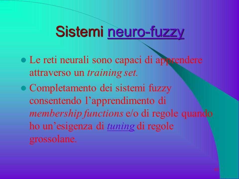 40 Sistemi neuro-fuzzy neuro-fuzzy Le reti neurali sono capaci di apprendere attraverso un training set. Completamento dei sistemi fuzzy consentendo l