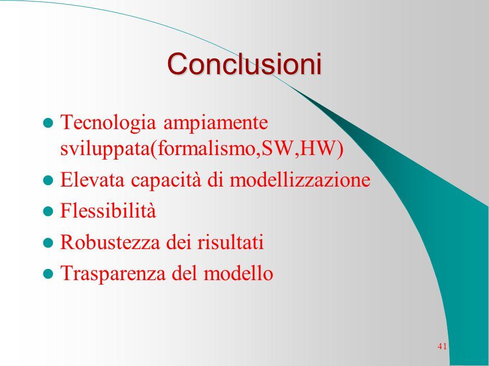 41 Conclusioni Tecnologia ampiamente sviluppata(formalismo,SW,HW) Elevata capacità di modellizzazione Flessibilità Robustezza dei risultati Trasparenz