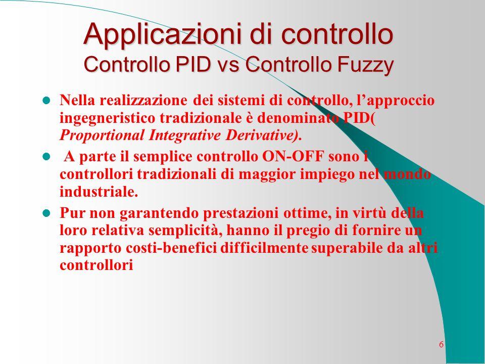 6 Applicazioni di controllo Controllo PID vs Controllo Fuzzy Nella realizzazione dei sistemi di controllo, lapproccio ingegneristico tradizionale è de