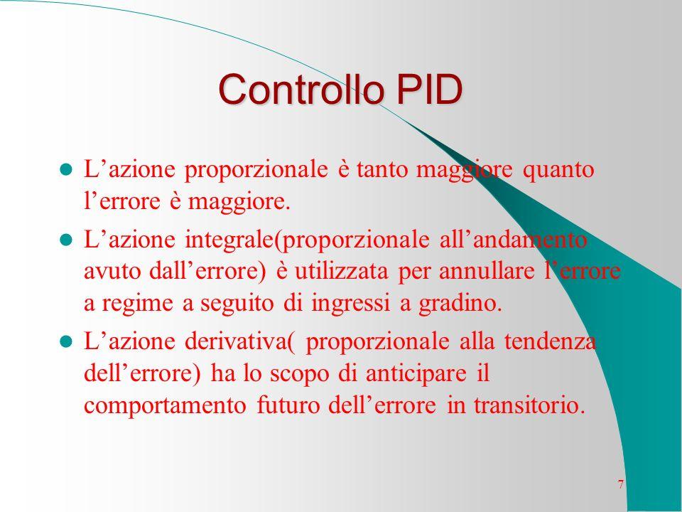 7 Controllo PID Lazione proporzionale è tanto maggiore quanto lerrore è maggiore. Lazione integrale(proporzionale allandamento avuto dallerrore) è uti