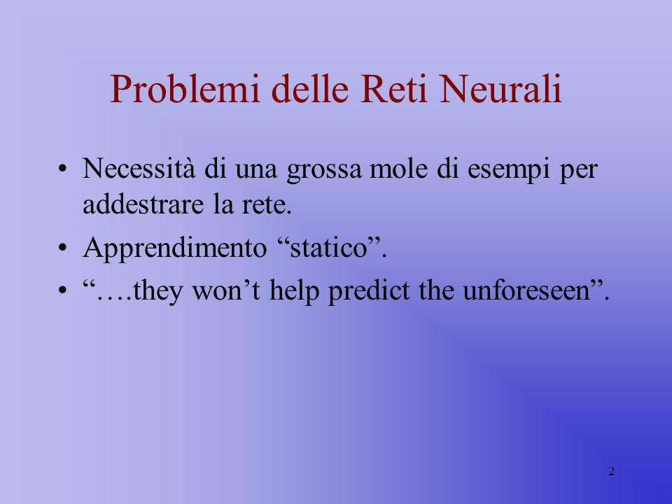 2 Problemi delle Reti Neurali Necessità di una grossa mole di esempi per addestrare la rete. Apprendimento statico. ….they wont help predict the unfor