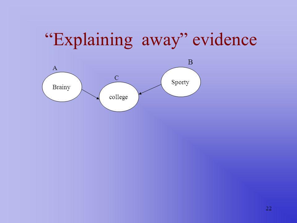 22 Explaining away evidence Brainy college Sporty A C B