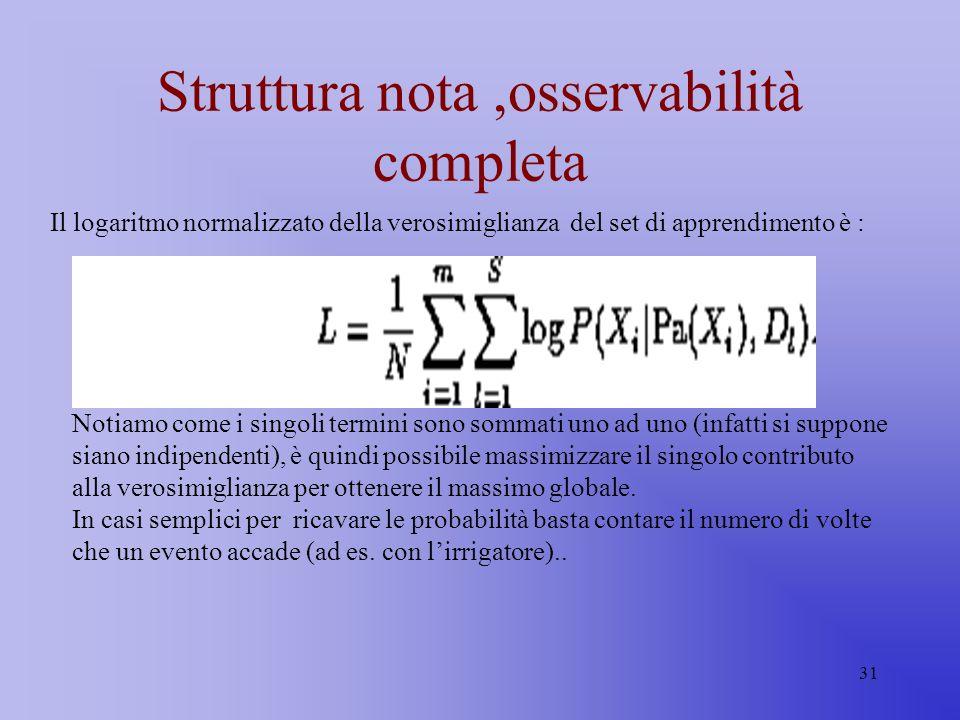 31 Struttura nota,osservabilità completa Il logaritmo normalizzato della verosimiglianza del set di apprendimento è : Notiamo come i singoli termini s