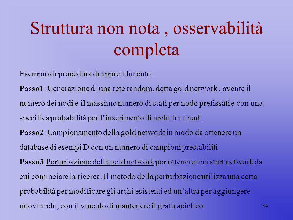 34 Struttura non nota, osservabilità completa Esempio di procedura di apprendimento: Passo1: Generazione di una rete random, detta gold network, avent