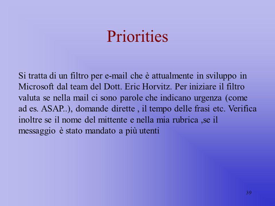 39 Priorities Si tratta di un filtro per e-mail che è attualmente in sviluppo in Microsoft dal team del Dott. Eric Horvitz. Per iniziare il filtro val