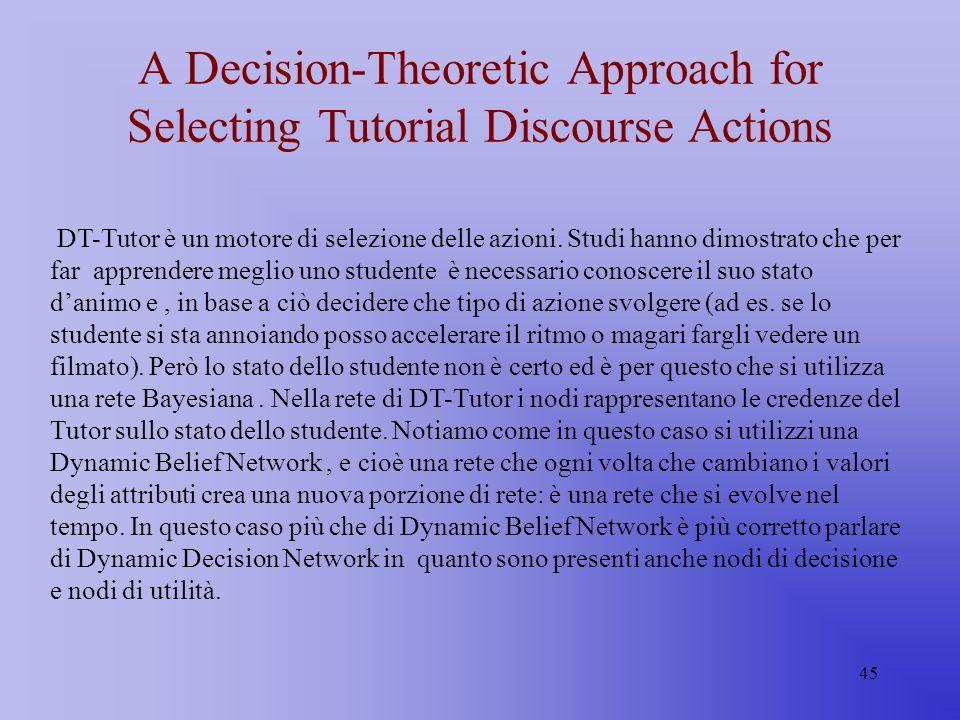 45 A Decision-Theoretic Approach for Selecting Tutorial Discourse Actions DT-Tutor è un motore di selezione delle azioni. Studi hanno dimostrato che p