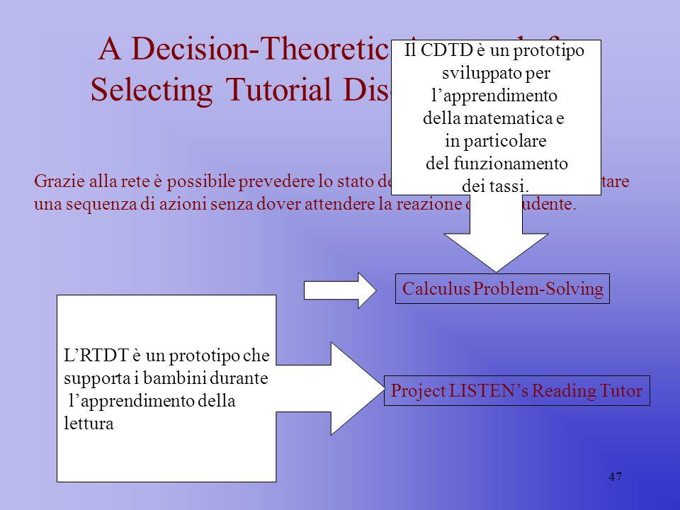 47 A Decision-Theoretic Approach for Selecting Tutorial Discourse Actions Grazie alla rete è possibile prevedere lo stato dello studente e quindi impo