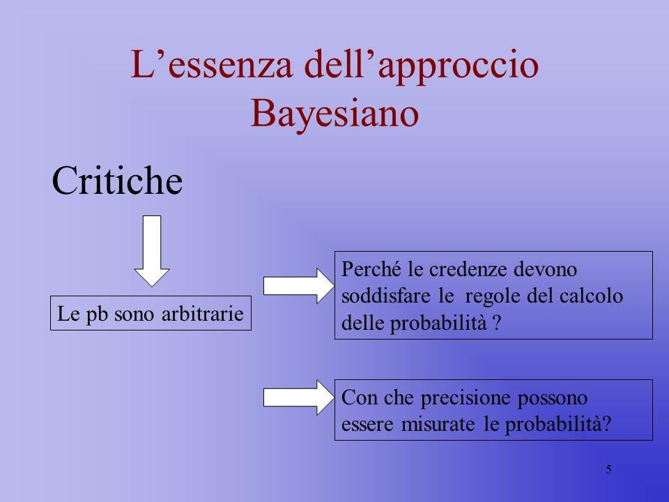 5 Lessenza dellapproccio Bayesiano Critiche Le pb sono arbitrarie Perché le credenze devono soddisfare le regole del calcolo delle probabilità ? Con c