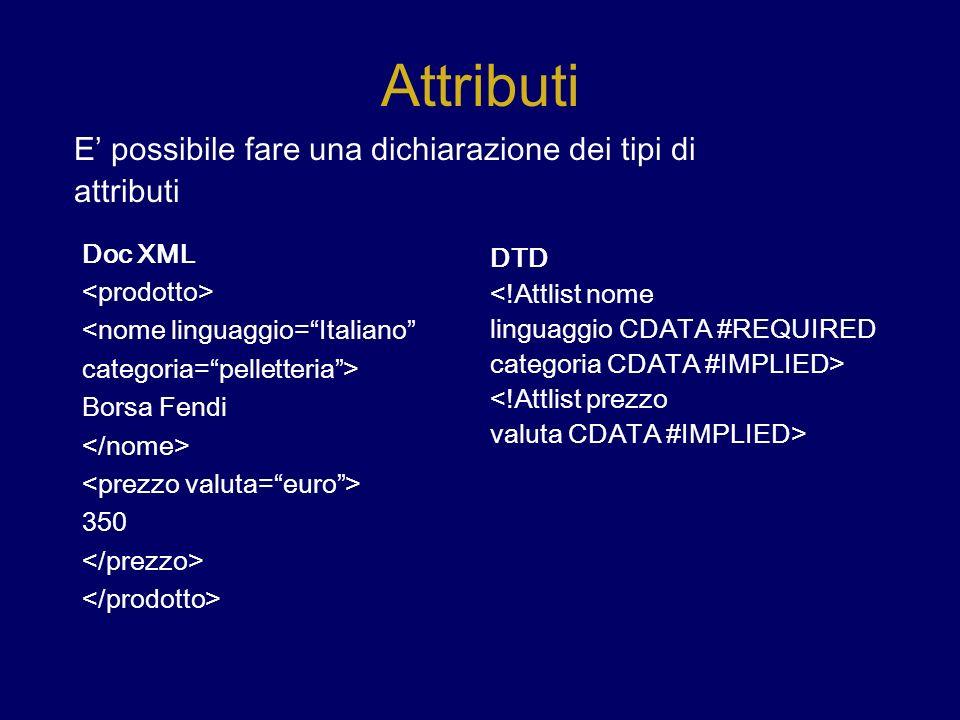 Attributi Doc XML <nome linguaggio=Italiano categoria=pelletteria> Borsa Fendi 350 E possibile fare una dichiarazione dei tipi di attributi DTD <!Attlist nome linguaggio CDATA #REQUIRED categoria CDATA #IMPLIED> <!Attlist prezzo valuta CDATA #IMPLIED>