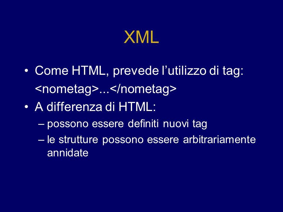 Applicazioni Diverse visualizzazioni per le stesse informazioni – Le informazioni rappresentate da un documento XML possono essere rappresentate in forme diverse con diversi documenti XSL Integrazione dati – Dati provenienti da più sorgenti possono essere mappati su documenti XML che ne descrivono lo schema e integrati in un unico documento Integrazione di componenti – Componenti basati su tecnologie diverse possono comunicare tra loro attraverso protocolli ASCII descritti in XML