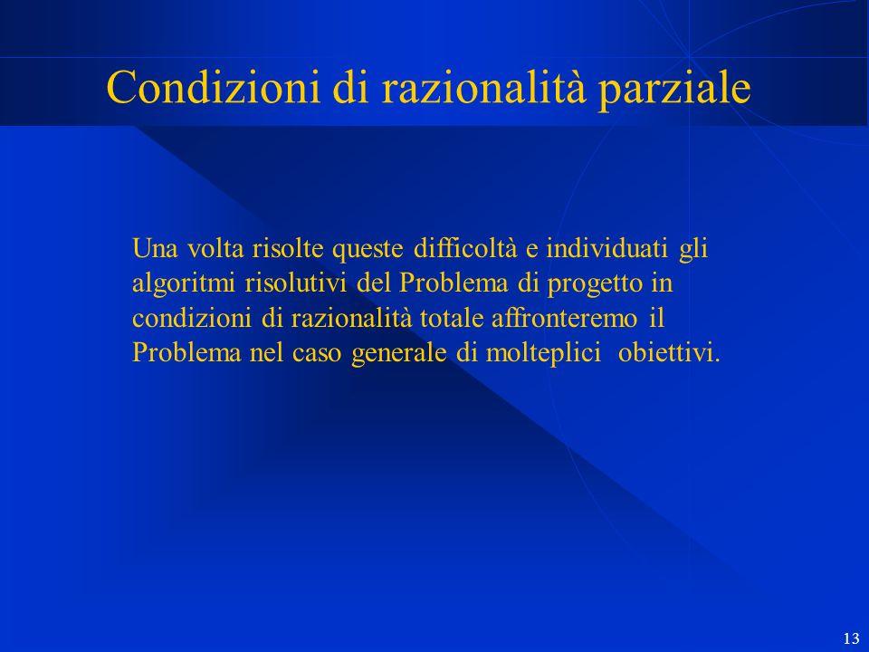 13 Condizioni di razionalità parziale Una volta risolte queste difficoltà e individuati gli algoritmi risolutivi del Problema di progetto in condizion