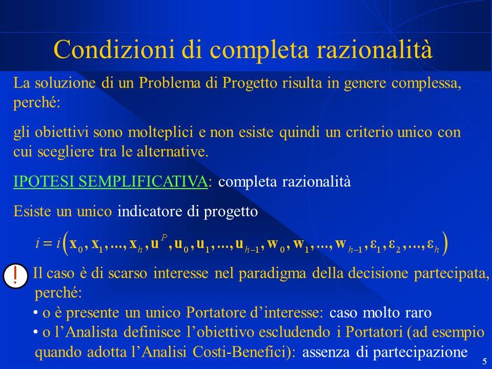 5 Condizioni di completa razionalità La soluzione di un Problema di Progetto risulta in genere complessa, perché: gli obiettivi sono molteplici e non