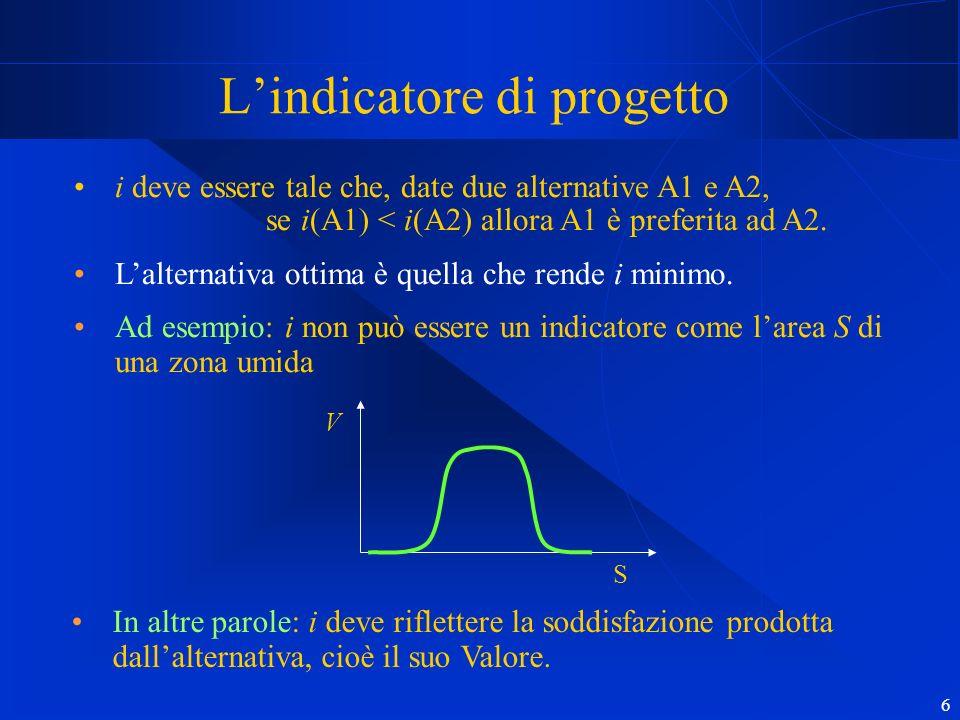 6 Lindicatore di progetto i deve essere tale che, date due alternative A1 e A2, se i(A1) < i(A2) allora A1 è preferita ad A2. Lalternativa ottima è qu