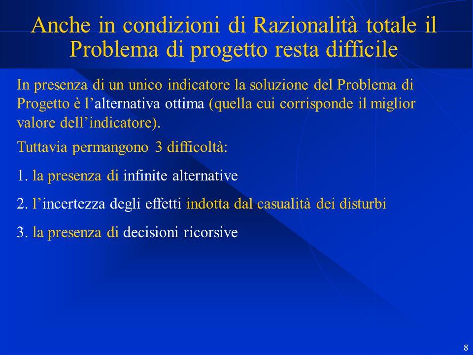 8 Anche in condizioni di Razionalità totale il Problema di progetto resta difficile In presenza di un unico indicatore la soluzione del Problema di Progetto è lalternativa ottima (quella cui corrisponde il miglior valore dellindicatore).