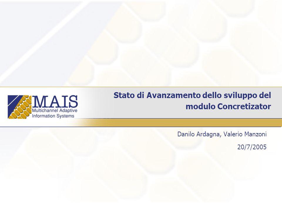 Stato di Avanzamento dello sviluppo del modulo Concretizator Danilo Ardagna, Valerio Manzoni 20/7/2005