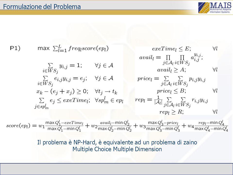 Riottimizzazione Differenza tra valore corrente e predizione dimensioni qualità, |Q k -Q k |> k (variabilità delle prestazioni) Fallimento dellinvocazione di unoperazione (piano sub-ottimo) Periodicamente, con periodo adattativo in una time window (variabilità dei servizi disponibili) Context switch dellutente (diversa scelta dei pesi) Dopo la valutazione di una condizione di switch (piano sub-ottimo) Al termine dellesecuzione di un ciclo (se il numero di iterazioni è inferiore al massimo atteso, il piano individuato è sub-ottimo) ^