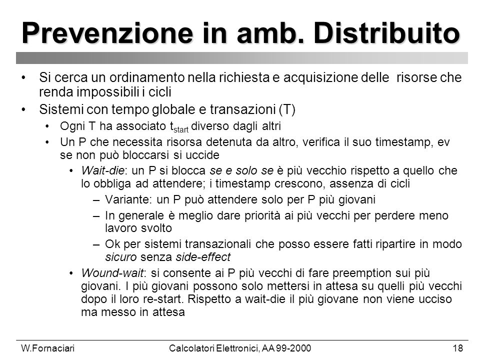 W.FornaciariCalcolatori Elettronici, AA 99-200018 Prevenzione in amb.