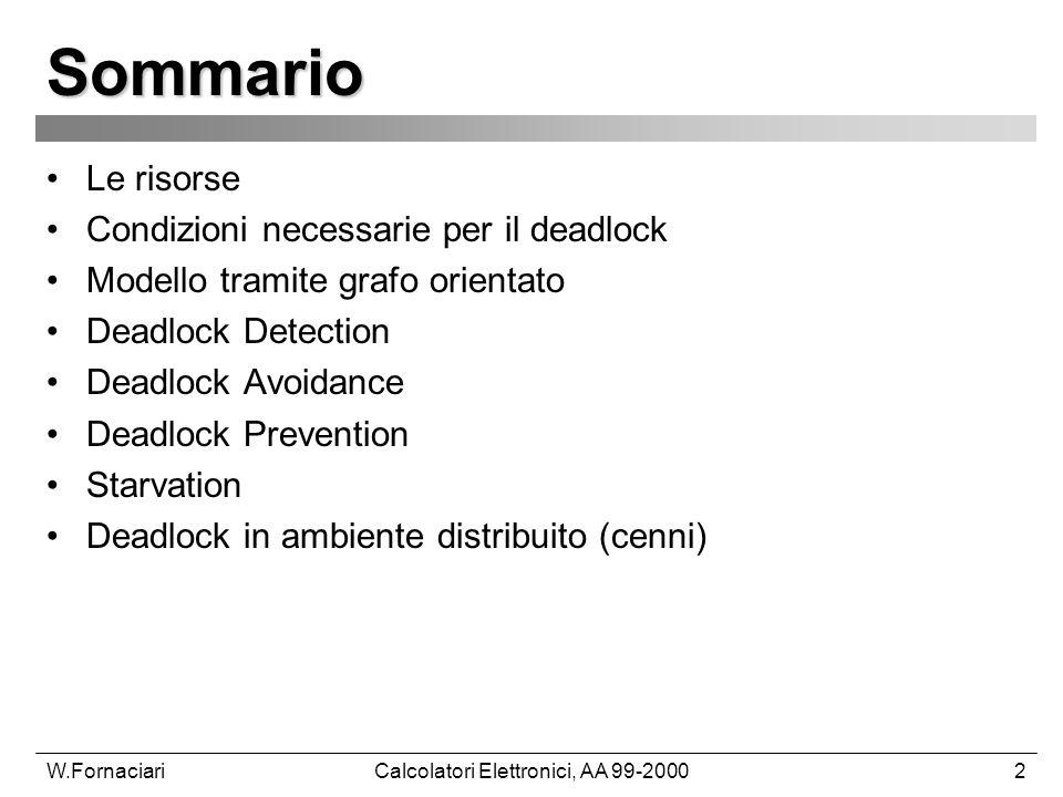 W.FornaciariCalcolatori Elettronici, AA 99-20002 Sommario Le risorse Condizioni necessarie per il deadlock Modello tramite grafo orientato Deadlock De
