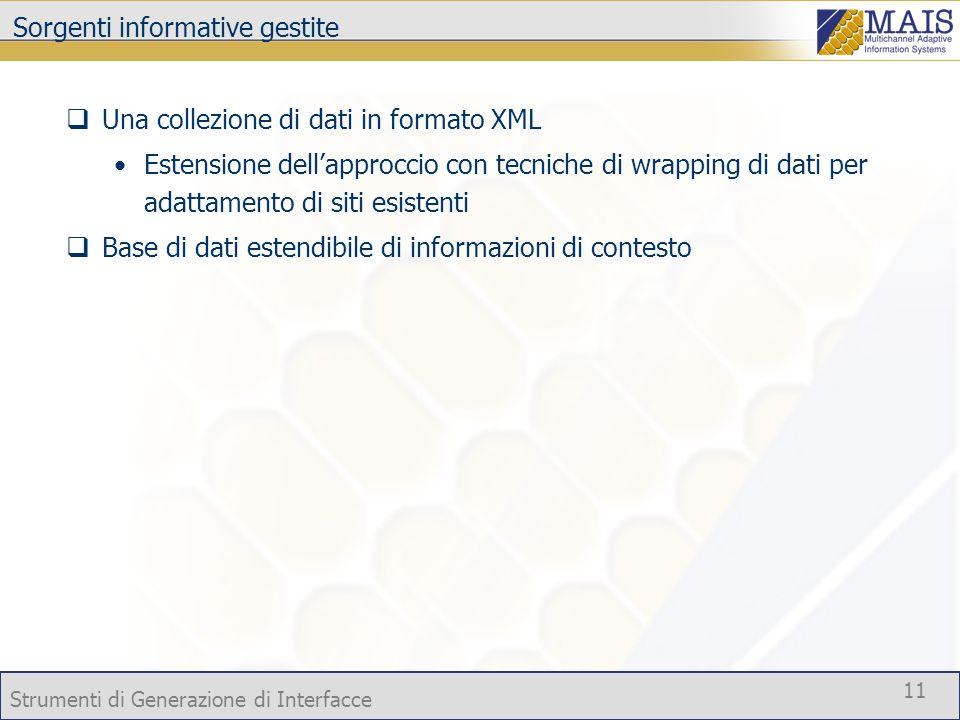 Strumenti di Generazione di Interfacce 11 Sorgenti informative gestite Una collezione di dati in formato XML Estensione dellapproccio con tecniche di