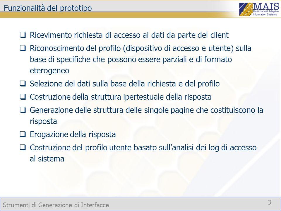 Strumenti di Generazione di Interfacce 3 Funzionalità del prototipo Ricevimento richiesta di accesso ai dati da parte del client Riconoscimento del pr